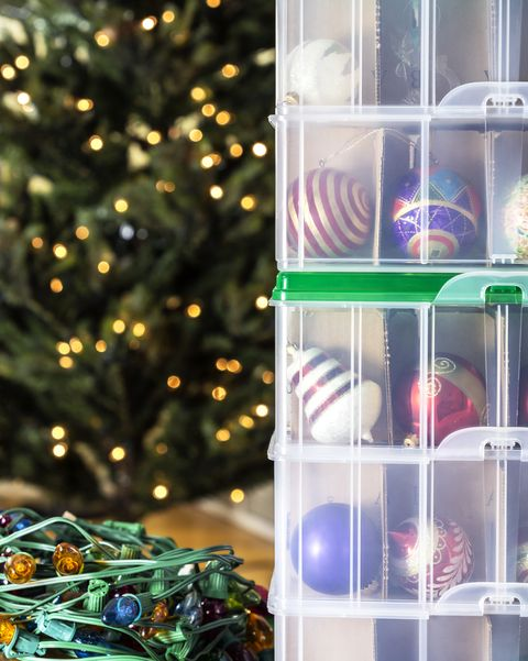 after the holiday season, the christmas tree will soon come down ornaments and lights will be stored until next year colored light bulb strings get wound up, and each fragile ornament is packed safely in an individual compartment inside stacked plastic storage bins
