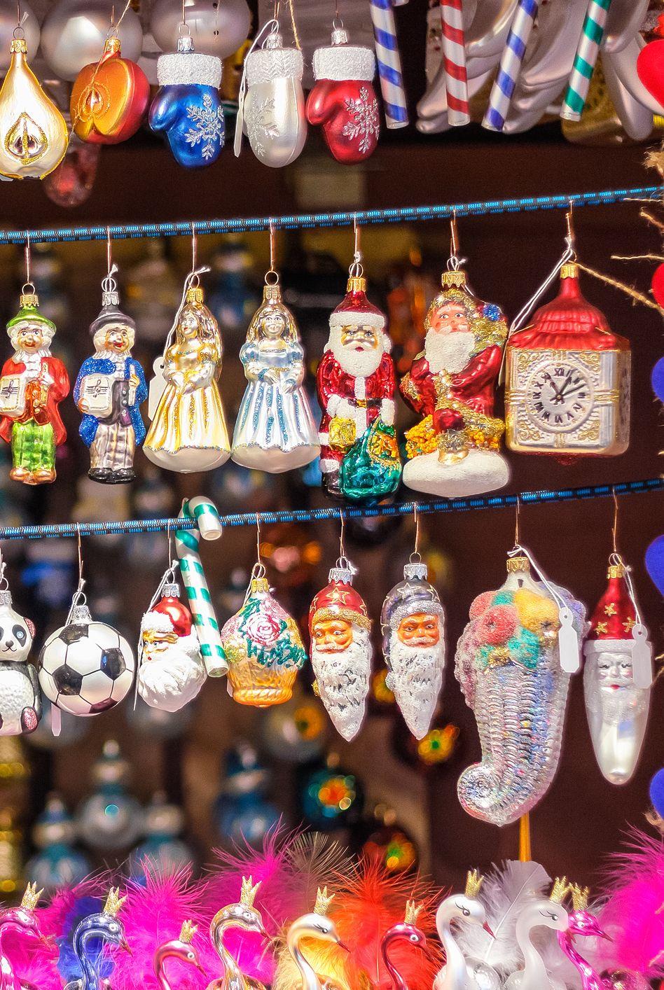 Christmas tree ornaments on display at Christmas market