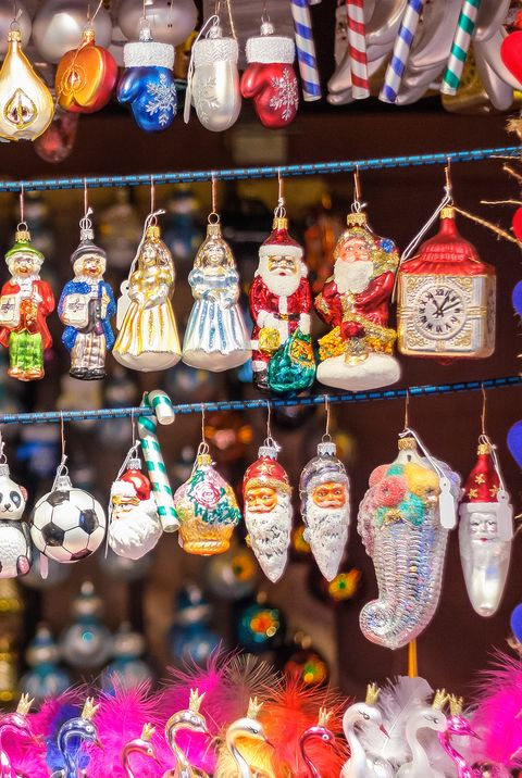Christmas tree ornaments on display at Christmas market