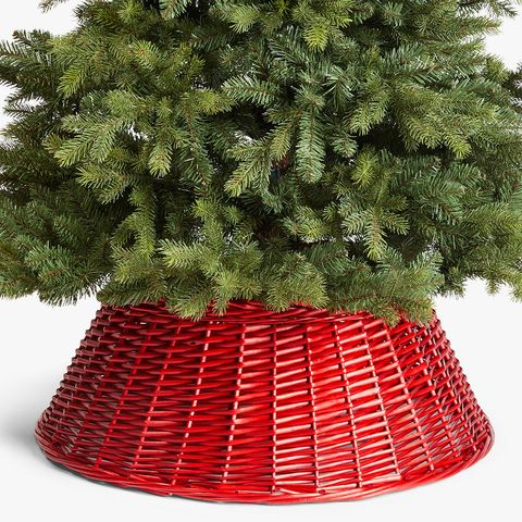 Red wicker Christmas tree skirt