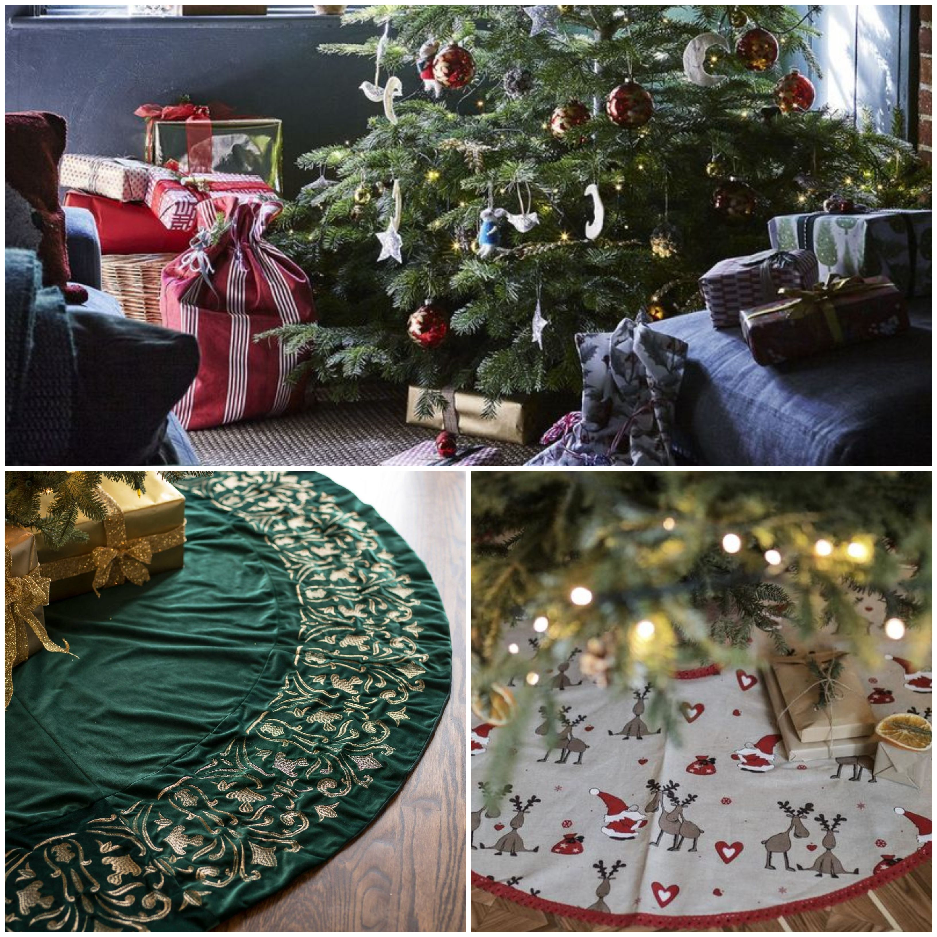 Best Christmas Tree Skirts Wicker Willow And Silver Christmas Tree Skirts