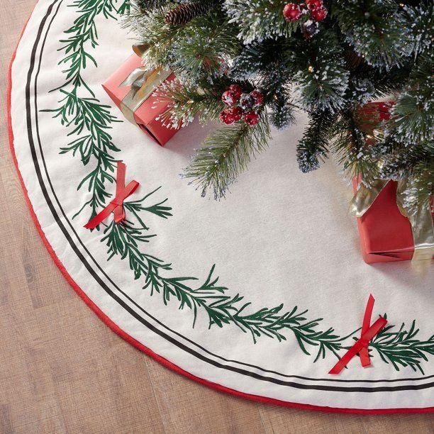 christmas tree skirts green garland