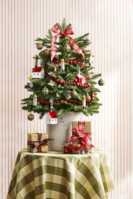 christmas tree toppers plaid ribbon