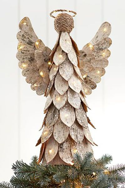 lit birch angel christmas tree topper