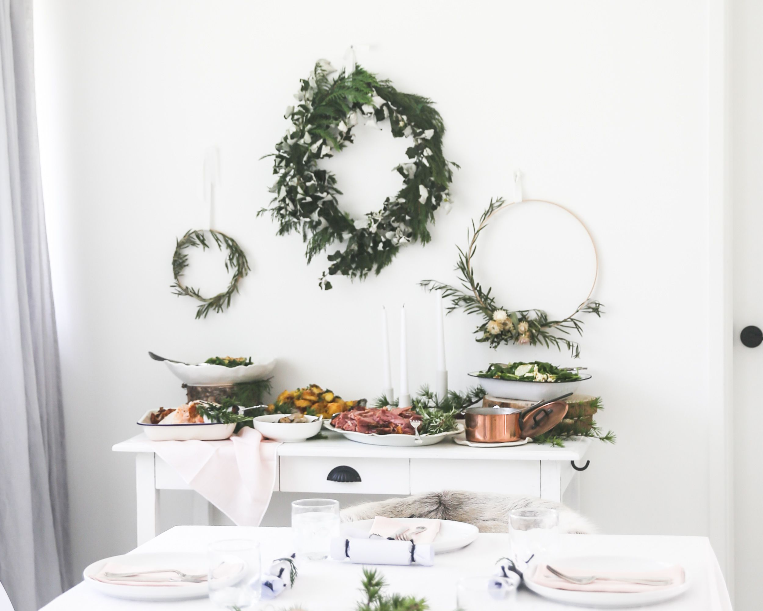 Christmas dinner on a sideboard in a dining room