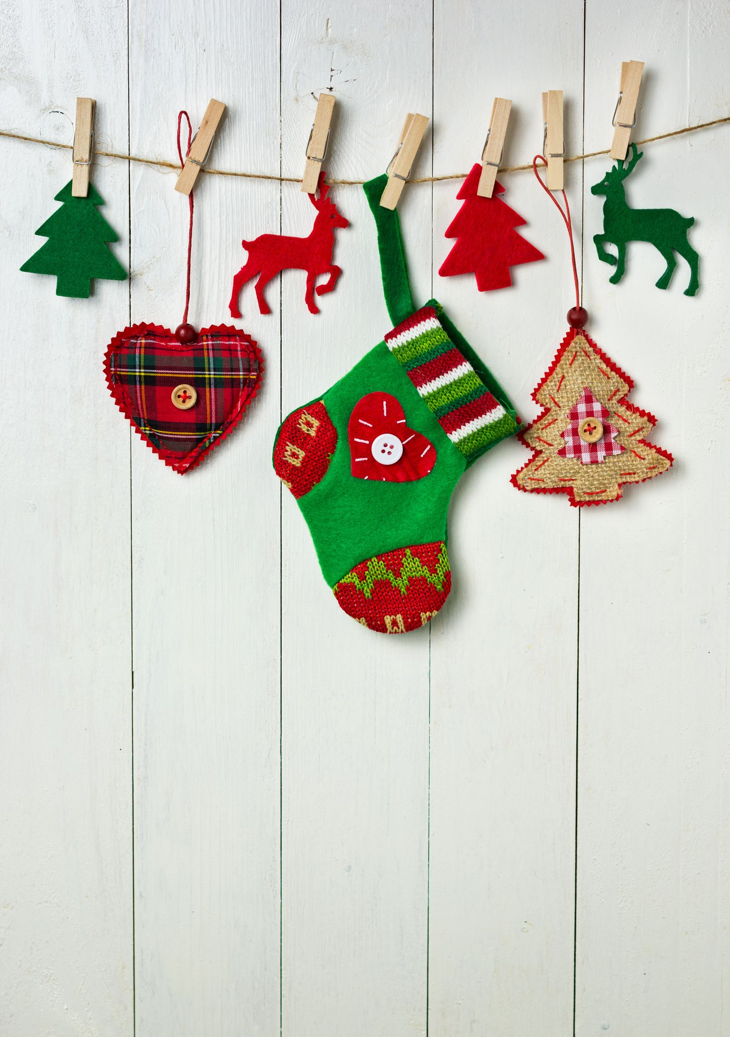 Christmas Decoration Hanging On White Wall