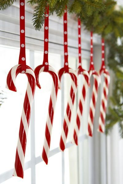 christmas window decorations dangling candy canes