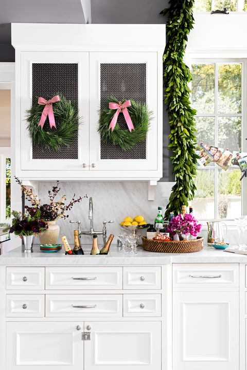 kitchen decorated for the holidays