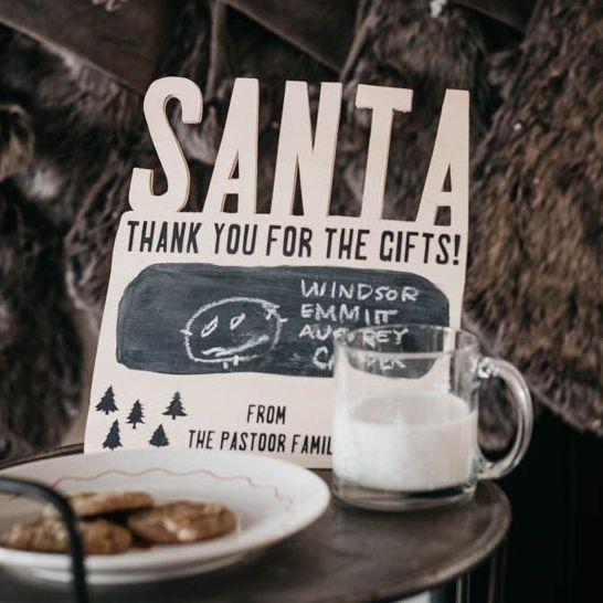 wood thank you santa sign