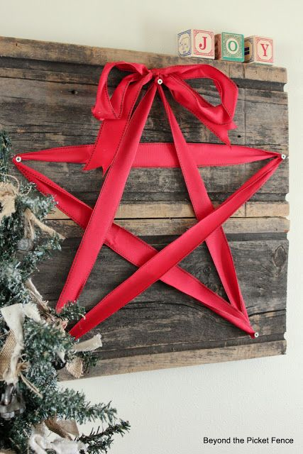 christmas wood crafts holiday ribbon star