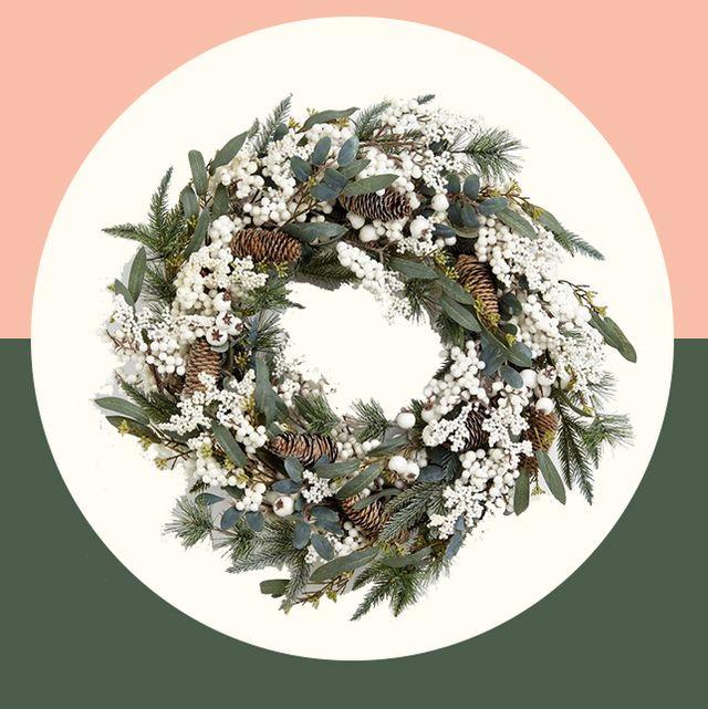 Christmas Door.Pinecones Lit Christmas Wreath