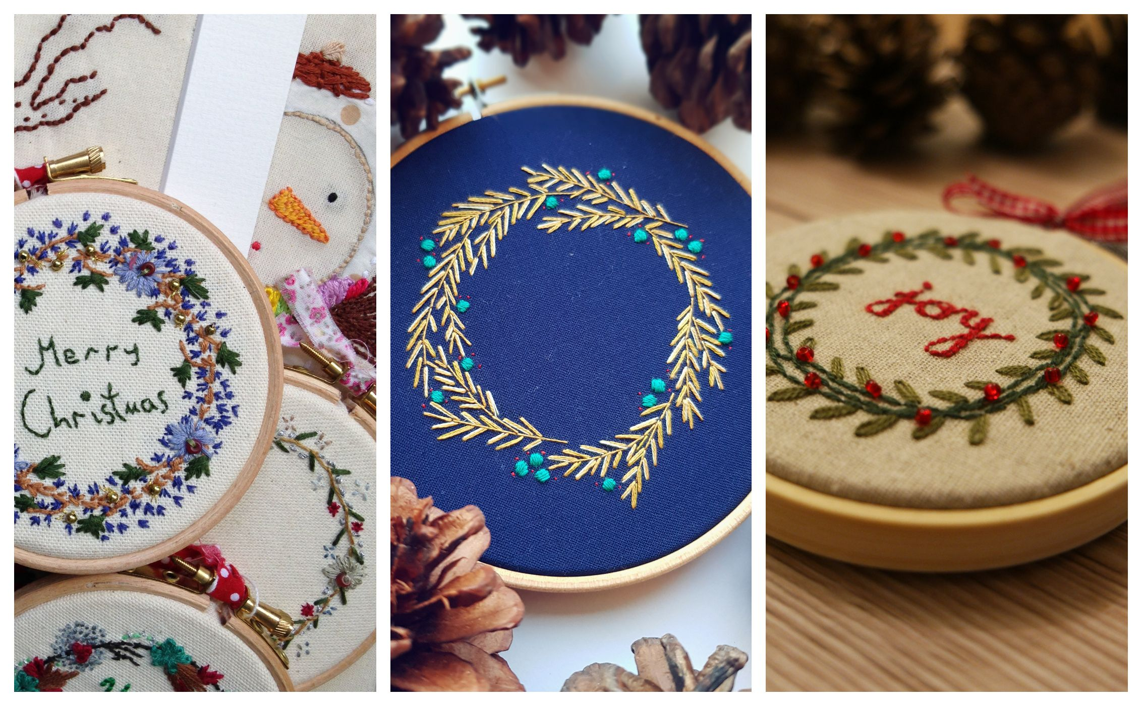 How to make a Christmas wreath embroidery hoop in a few simple steps
