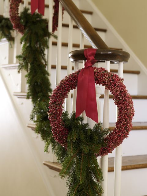 christmas wreath on staircase