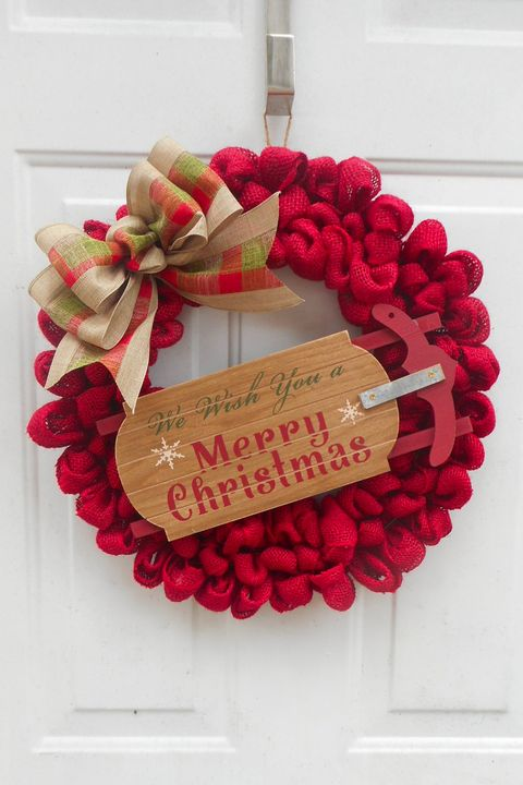 Christmas Wreaths Red Burlap