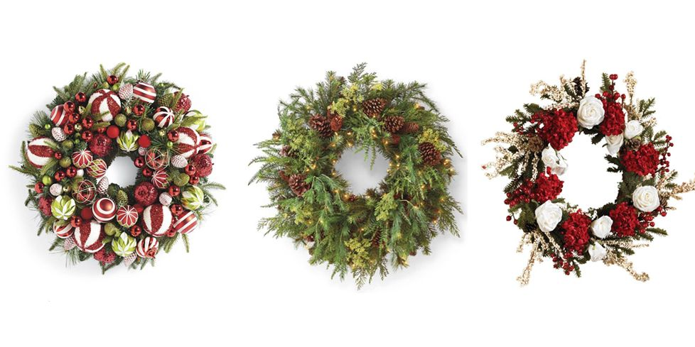 best christmas door wreath ideas 2018 holiday door decor - Artificial Christmas Wreaths Decorated