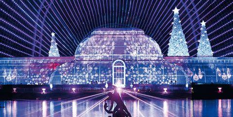 Landmark, Light, Purple, Lighting, Reflection, Architecture, Metropolis, Night, Metropolitan area, Sky,
