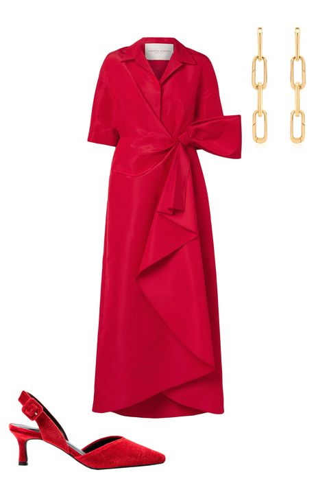 Clothing, Red, Dress, Pink, Footwear, Day dress, Outerwear, Magenta, Formal wear, Robe,