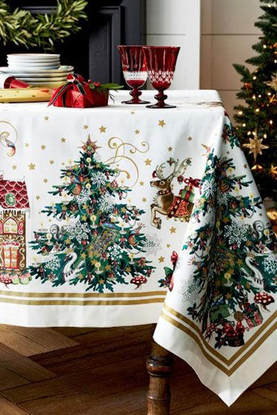 christmas table decorations twas the night before christmas tablecloth - How To Decorate A Christmas Table