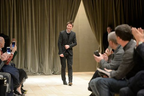 Christopher Bailey takes a bow at the Burberry show