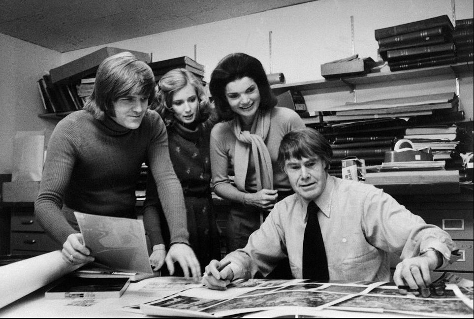 Jackie with her colleagues in the Studio Books Department at the Viking Press in New York in 1977.