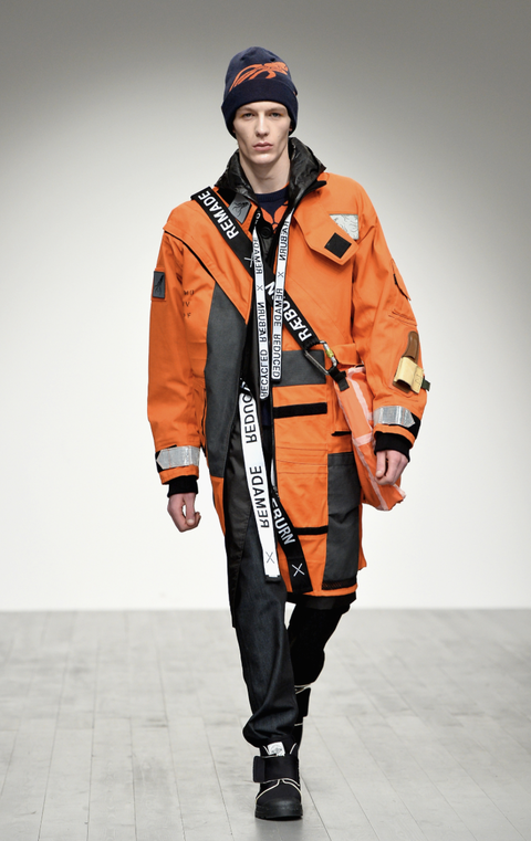 Orange, Clothing, Fashion, Jacket, Outerwear, Sportswear, Runway, Coat, Hood, Parka,