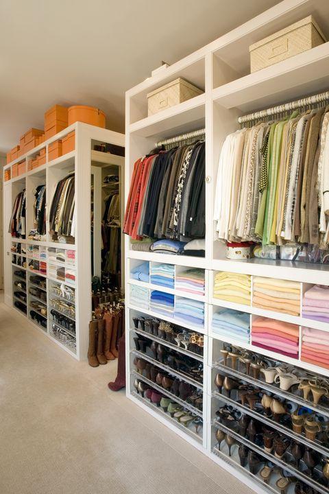 Closet, Room, Shelf, Furniture, Building, Shelving, Interior design, Floor, Wardrobe, Home,