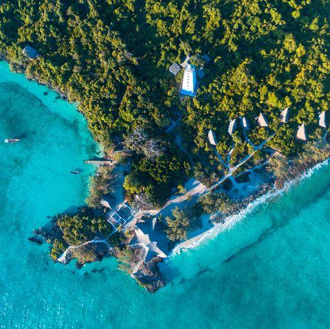 Aerial view of the chumbe island coral park, Zanzibar