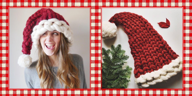 chunky knit santa hat