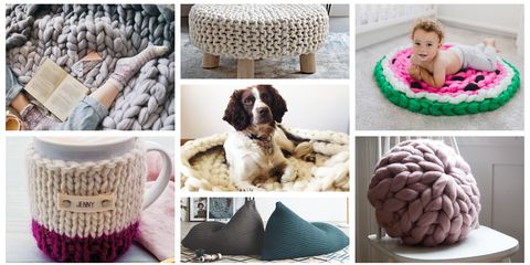 best knitted home accessories chunky knit blanket throw cushion