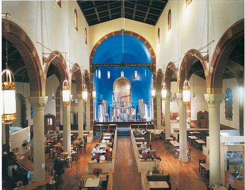 church with restaurant inside