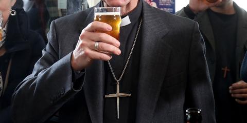 Archimandrite, Drink, Metropolitan bishop, Alcohol, Suit, Bishop, Distilled beverage, Clergy, Liqueur, Drinkware,