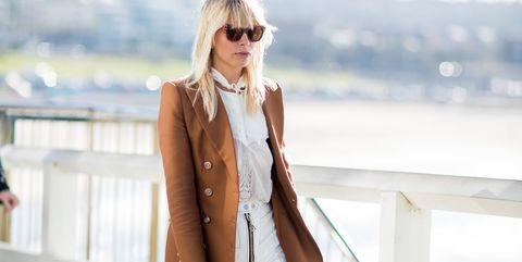 White, Clothing, Street fashion, Blazer, Pink, Coat, Trench coat, Fashion, Jeans, Outerwear,