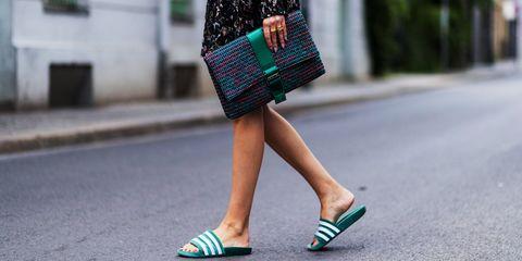 Street fashion, Green, White, Clothing, Fashion, Footwear, Shoulder, Shoe, Turquoise, Waist,