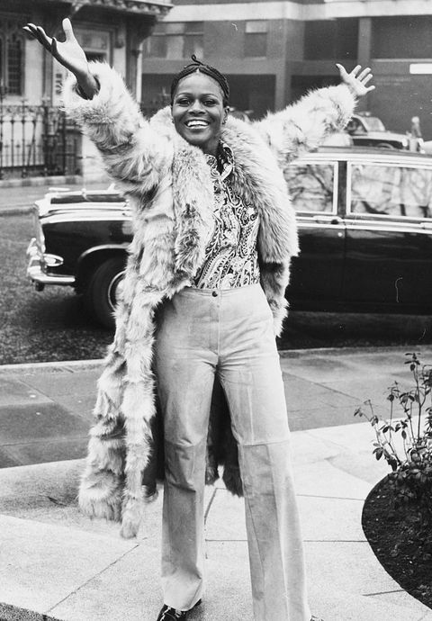 portrait of academy award winning american actress cicely tyson smiling and raising her arms in the air during a visit to london, february 19th 1973 photo by dennis ouldscentral pressgetty images