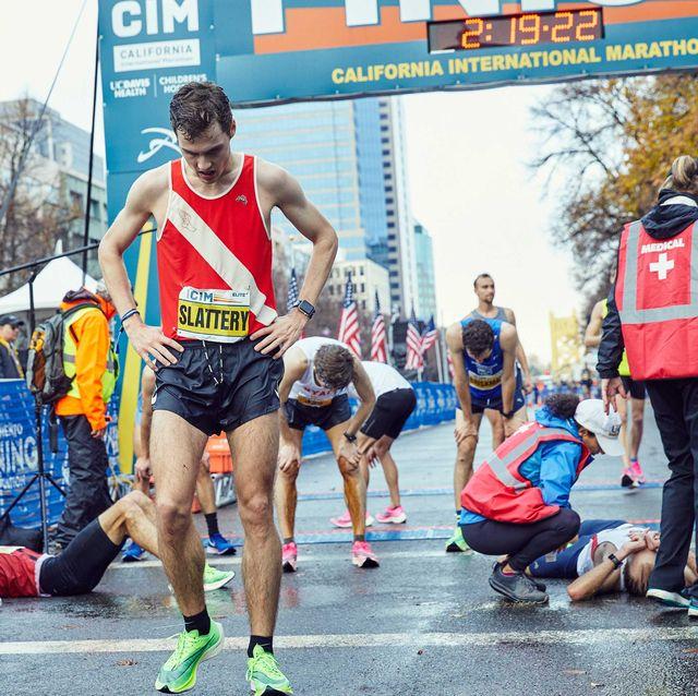 Tom Slattery at the finish line of the CIM Marathon on Sunday, December 8, 2019.