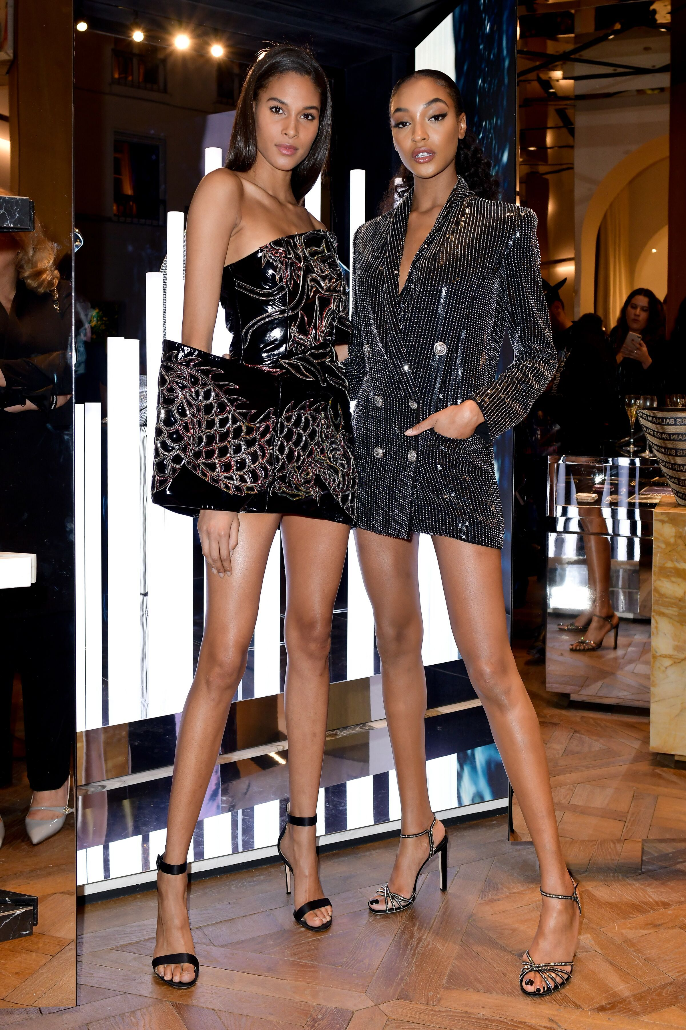 Cindy Bruna and Jourdan Dunn Cindy Bruna and Jourdan Dunn in Paris to celebrate the opening of the new Balmain store, 374 rue Saint Honoré 75001 on March 2.