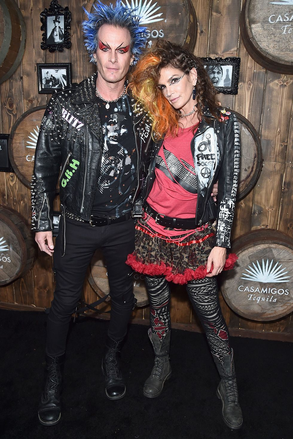 Cindy Crawford and Rande Gerber - Punk Rockers Model Cindy Crawford and Casamigos cofounder Rande Gerber dressed up as hard-core punk rockers to attend the 2016 Casamigos Halloween party in Beverly Hills, California.