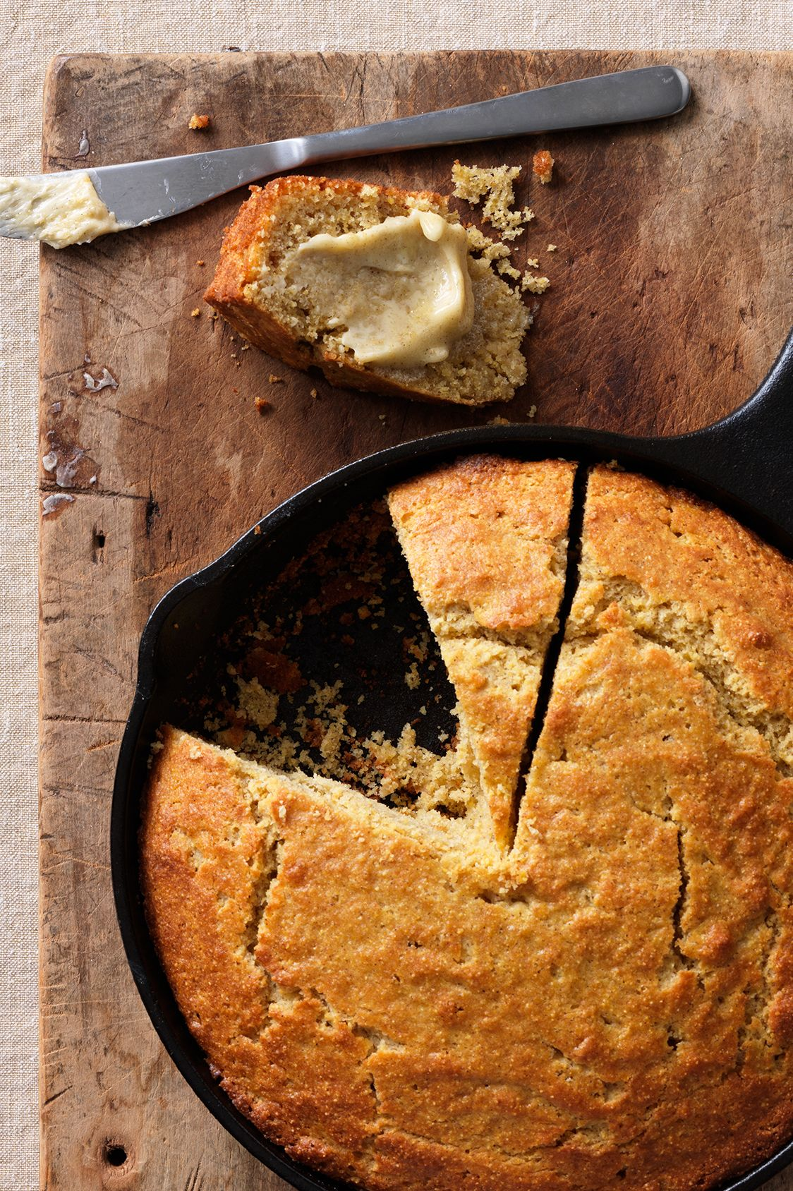 cinnamon buttermilk cornbread in skillet
