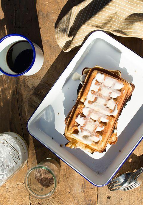 campfire cinnamon roll waffles