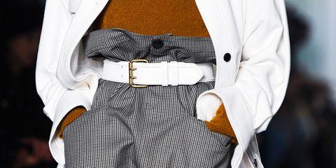 White, Fashion, Clothing, Street fashion, Belt, Suit, Outerwear, Dress, Haute couture, Formal wear,
