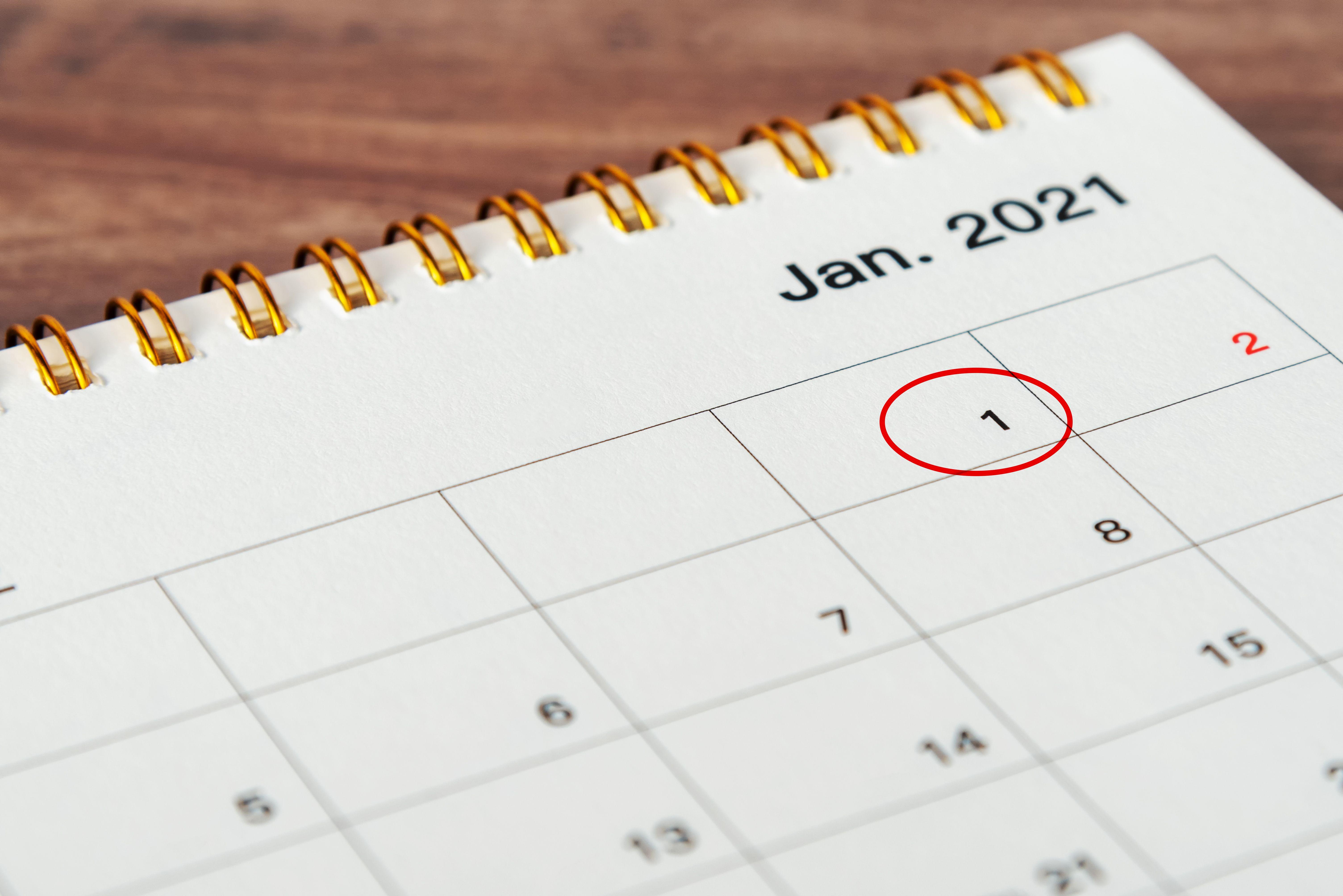 calendrier du 1er janvier 2021 encerclé