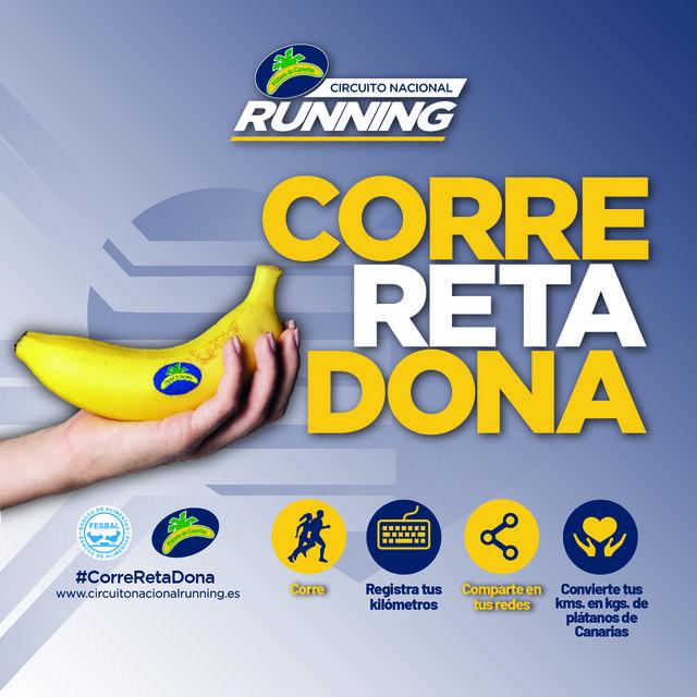 cartel del reto correretadona del circuito nacional del running plátano de canarias