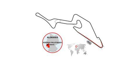 trazado del circuito de nürburgring, alemania, variante de fórmula 1