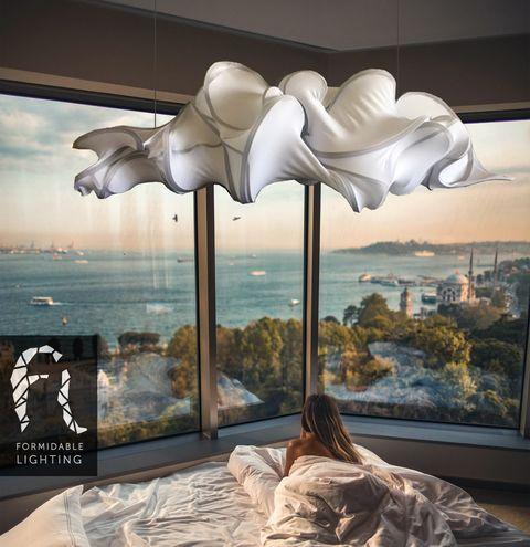Lighting, Ceiling, Tree, Light fixture, Room, Lamp, Art, Lighting accessory, Modern art, Interior design,