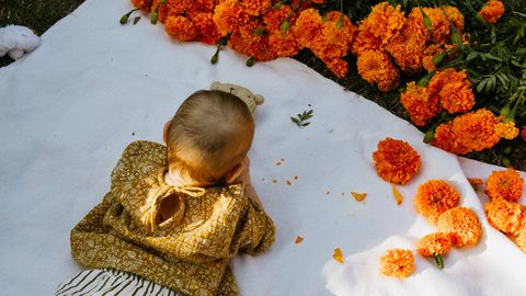 baby with marigolds on picnic blanket