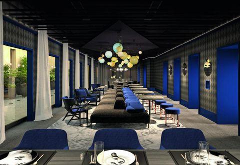 Interior design, Building, Room, Architecture, Design, Furniture, Restaurant, Conference hall, House, Table,