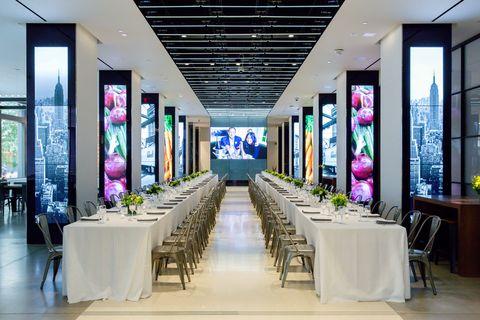 Building, Restaurant, Interior design, Room, Design, Furniture, Ceiling, Table, Architecture, Function hall,