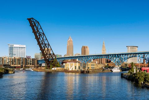 City skyline and the Cuyahoga River...