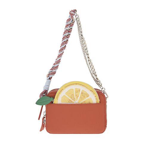 Bag, Handbag, Yellow, Shoulder bag, Fashion accessory, Font, Citrus, Beige, Chain, Fruit,