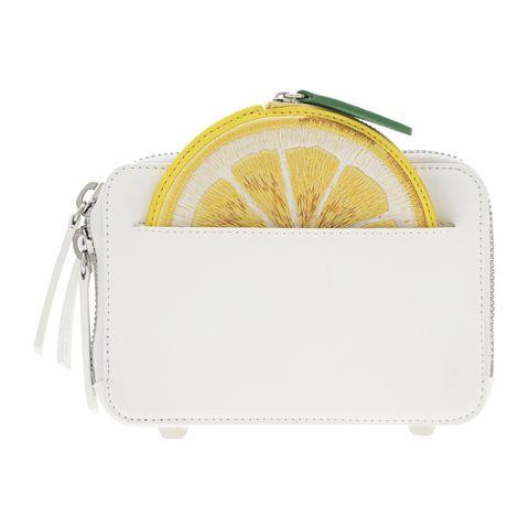 Yellow, Bag, Citrus, Coin purse, Lemon, Handbag, Fashion accessory, Lime, Plant, Fruit,